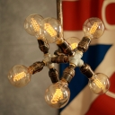 Industrial 8 Light Pipe Chandelier in Open Bulb Style, Rust