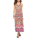 New Stylish Tribal Print Maxi Beach Dress with Strap