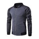 Simple Color Block Stand-up Collar Long Sleeves Zippered Baseball Jacket with Pockets