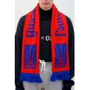 New Fashion Russian Letter Print Tassel Hem Warm Scarf