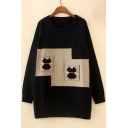 New Stylish Print Long Sleeve Round Neck Tunic Pullover Sweater