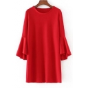 Simple Plain Round Round Flared Long Sleeve Shift Mini Dress