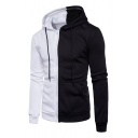 Simple Color Block Monochrome Long Sleeves Zippered Leisure Hoodie with Pockets