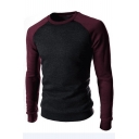 Men's Fashion Color Block Round Neck Long Sleeves Pullover Sweatshirt