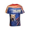 New Stylish Colorful Painting & Cat Print Round Neck Short Sleeves Tee