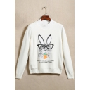 Chic Cartoon Rabbit Letter Print Long Sleeve Pullover Sweater