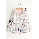 Lovely Cartoon Cat Print Long Sleeve Zip up Hooded Dip Hem Coat