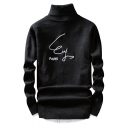 Men's Fashion Letter Printed High Neck Long Sleeve Leisure Pullover Sweater