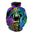 Leisure Digital Color Block Skull Print Pocket Long Sleeve Hoodie