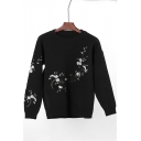 Elegant Floral Embroidered Round Neck Long Sleeves Pullover Sweater