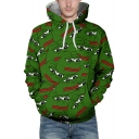 Chic 3D Repetitive Frog Print Long Sleeve Pocket Hoodie for Couple