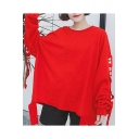 Simple Letter Embellished Round Neck Long Sleeves Ripped Hem Loose Over-Sized Pullover Sweatshirt