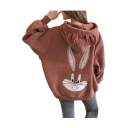 Cartoon Rabbit Print Long Sleeve Loose Hoodie