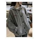 Simple Leisure Loose Letter Embroidered Long Sleeve Buttons Down Hoodie