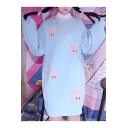 Lovely Rabbit Embroidered High Neck Long Sleeve Hoodie Mini Dress
