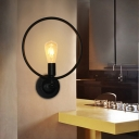 Industrial Wall Sconce with 11.81''W Metal Ring in Black