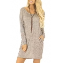 New Fashion Simple Plain Scoop Neck Long Sleeve T-shirt Mini Dress