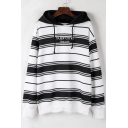 Simple Striped Letter Pattern Long Sleeves Pullover Hoodie with Drawstring