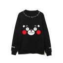 Cute Cartoon Bear Print Long Sleeve Round Neck Pullover Sweatshirt