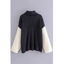 Chic Turtleneck Long Sleeve Color Block Print Pullover Sweater