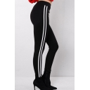 New Leiusre Striped High Waist Zippered Embellished Sports Pants