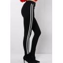 New Leiusre Striped High Waist Zippered Embellished Sports Pants