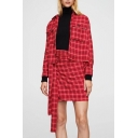 Chic Plaid Bow Front Raw Hem Short Sleeve Pullover Blouse