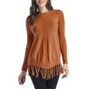 Fashion Plain Long Sleeve Round Neck Tassel Embellished Tunic Pullover Sweater