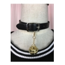 Stylish Leather Buckle Tinkle Bell Embellished Choker