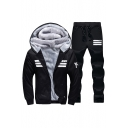 Simple Striped Letter Pattern Zippered Hooded Fur Padded Jacket with Elastic Waist Straight Leg Joggers