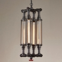 Industrial 11''W Chandelier with Metal Cage in Vintage Style, Black