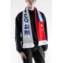 New Arrival Chinese Character Russian Letter Pattern Tassel Hem Warm Scarf