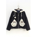 Cartoon Cat Pattern Zip Up Long Sleeve Hooded Coat with Pom-Pom