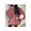 Casual Boyfriend Letter Pattern Long Batwing Sleeves Over-Sized Zippered Faux Fur Coat
