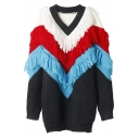 Chic Color Block Tassel Embellished V-Neck Long Sleeve Pullover Sweater