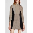 Stylish Plaid Stand-up Collar 3/4 Sleeve Mini A-line Dress