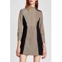 Stylish Plaid Stand-up Collar 3/4 Sleeve Mini A-line Dress