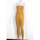 Simple Sexy Straps Halter Neck Attached Lacing Bandeau Front Slim-Fit Skinny Leg Plain Jumpsuit