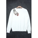 New Stylish Sequined Hand Pattern Long Sleeve Round Neck Pullover Sweater