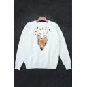 Deer Embroidered Sequined Floral Pattern Long Sleeve Round Neck Pullover Sweater