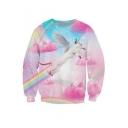 Trendy Rainbow Wings Flying Cat Cloudy Sky Pattern Round Neck Long Sleeves Pullover Sweatshirt