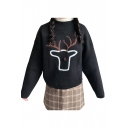 Lovely Cartoon Print Deer Print Long Sleeve Pullover Sweater
