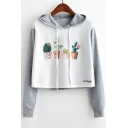 Adorable Cactus Pattern Color Block Long Sleeves Pullover Cropped Hoodie