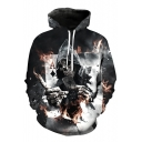 Trendy 3D Skull Print Long Sleeves Drawstring Hoodie