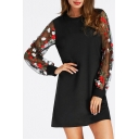 Ladylike Floral Pattern Long Sheer Sleeves Patchwork Round Neck Shift Mini Dress
