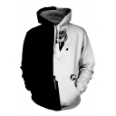 Fashionable Color Block Cat Printed Long Sleeves Pullover Monochrome Hoodie with Pocket