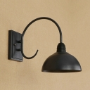 Industrial Wall Sconce with 8''W Dome Metal Shade in Barn Style