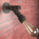 Industrial Simple Wall Sconce in Pipe Style, Rust