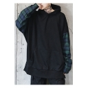 Casual Tartan Plaids Patchwork Letter Pattern Long Sleeves Pullover Hoodie with Pocket