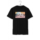 Simple Letter Colorful Pattern Round Neck Short Sleeves Tee